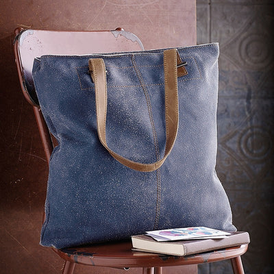 HYDESTYLE Crackle leather  tote shopper bag #LB15 Denim Blue
