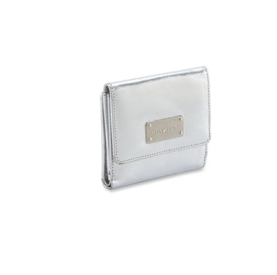 Metallic Rimor leather ladies wallet #LW08 silver