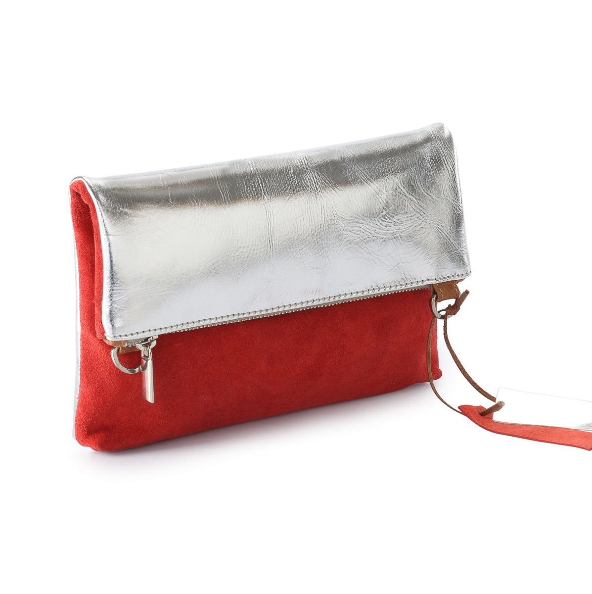 Metallic Rimor Anna 2 way leather messenger clutch bag #LW12 silver
