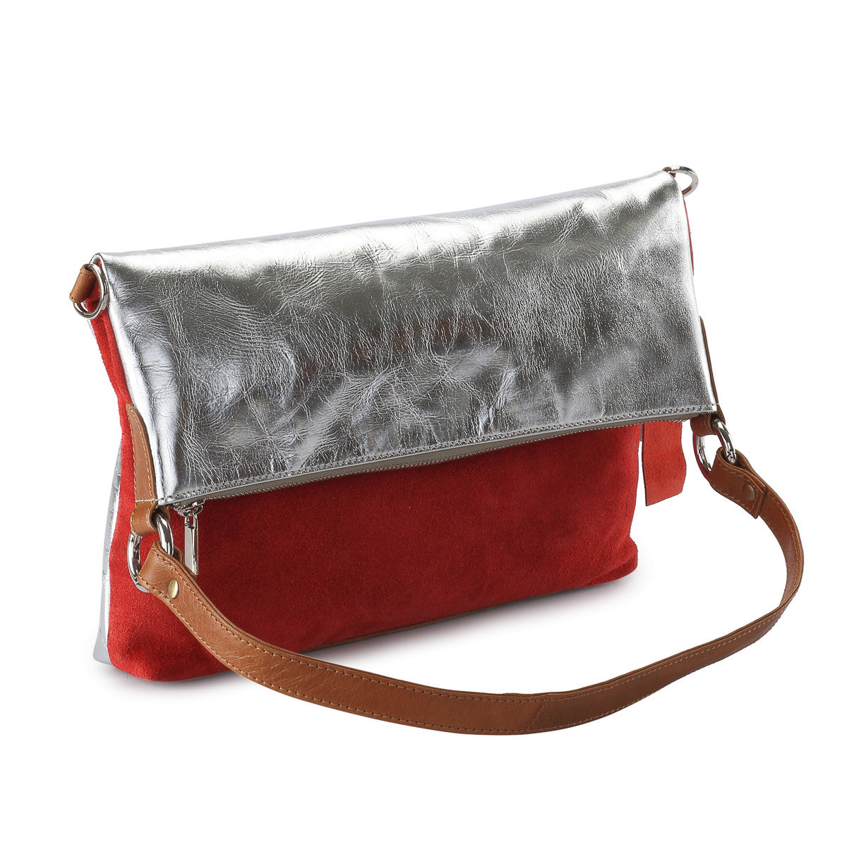 Metallic leather 4 way back pack messenger clutch bag #LB31 silver