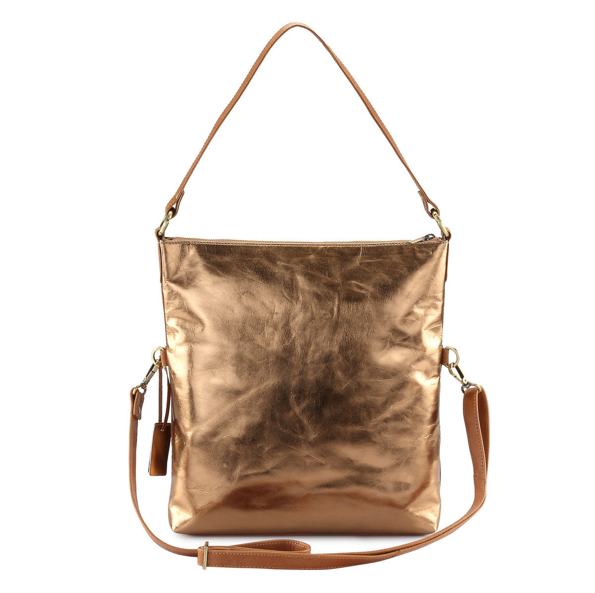 Metallic Leather 4 way back pack messenger clutch bag #LB31 copper
