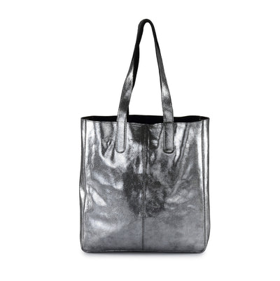 Hydestyle Metallic Sofia reversible leather tote bag #LB32 black