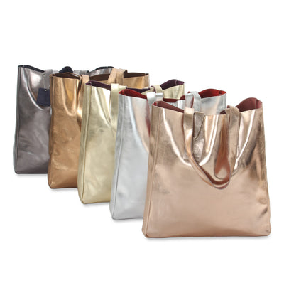 Hydestyle Metallic Sofia reversible leather tote bag #LB32 rose