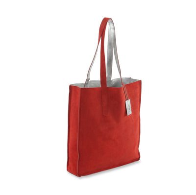 Hydestyle Metallic Sofia reversible leather tote bag #LB32 silver