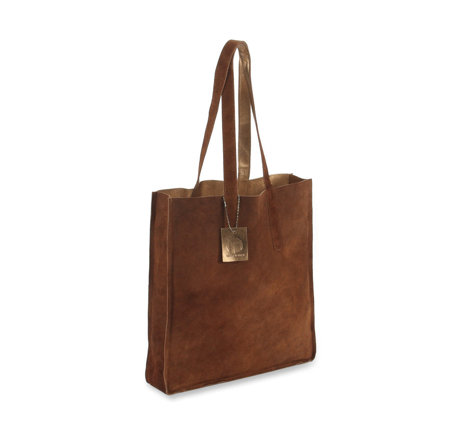 metallic reversible leather tote bag - Copper