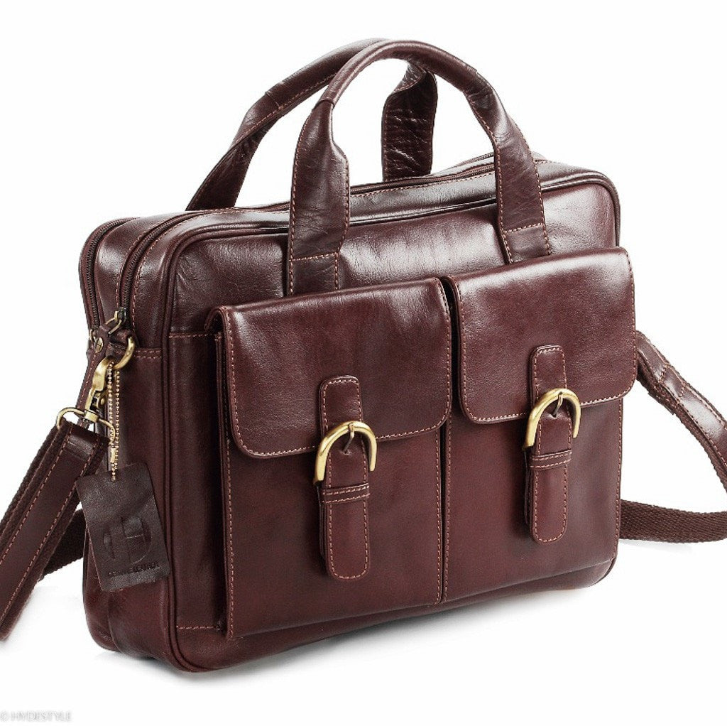 Classic Munch leather twin pocket laptop bag #UM23 Brown