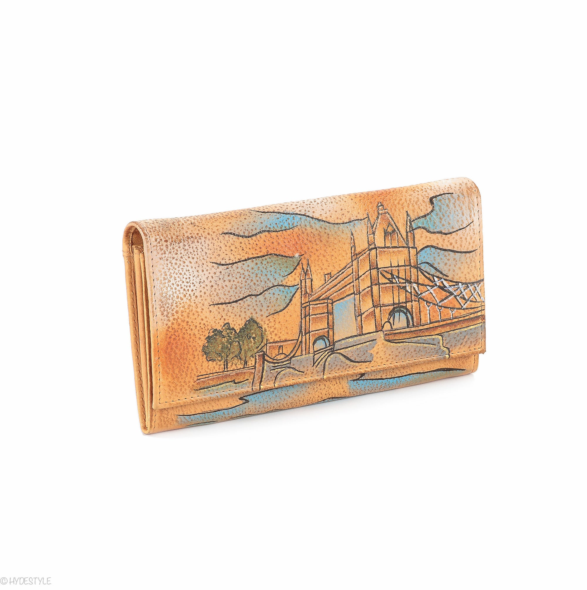 Picta Manu hand painted leather ladies purse #LW11 Tower Bridge