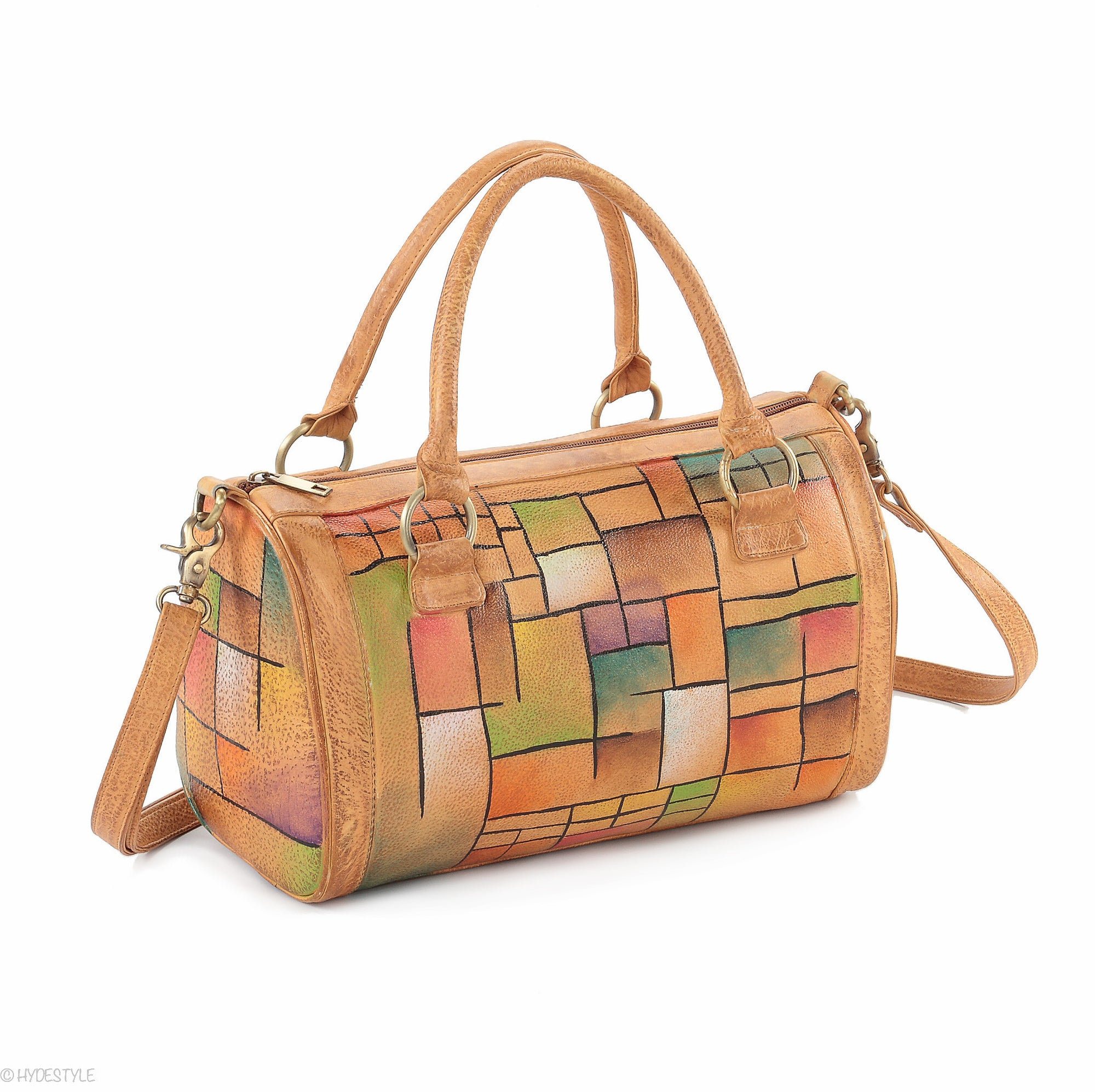 Picta Manu hand painted leather bowling bag #LB18 Abstract Squares