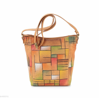 Picta Manu hand painted leather messenger bag #LB19 Abstract Squares
