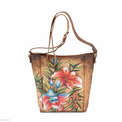 Picta Manu hand painted leather messenger bag #LB19 Floral Berry