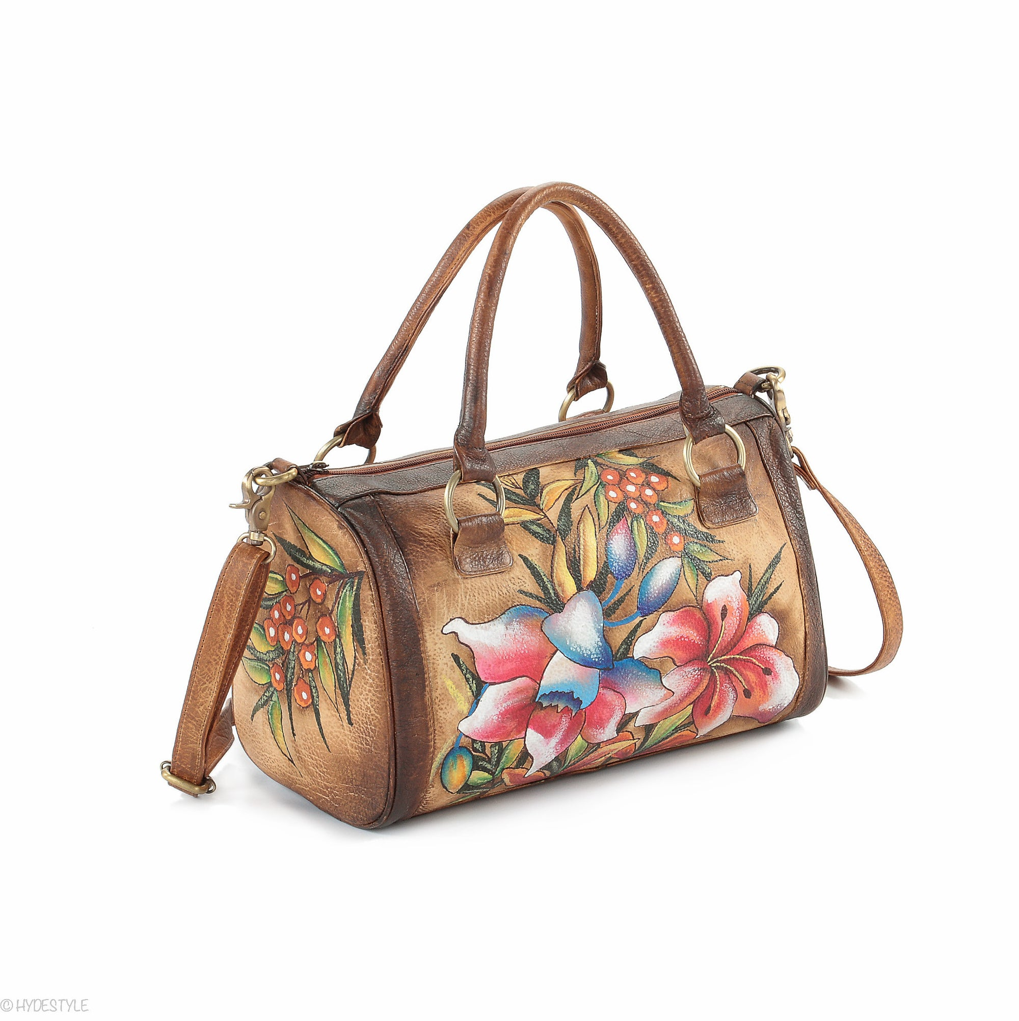 Picta Manu hand painted leather bowling bag #LB18 Floral Berry