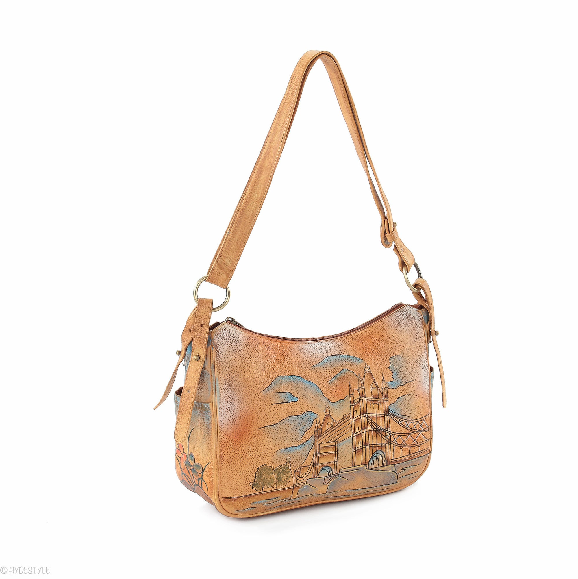 Picta Manu hand painted leather hobo bag #LB21 Tower Bridge