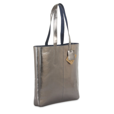 metallic reversible leather tote bag - Pewter