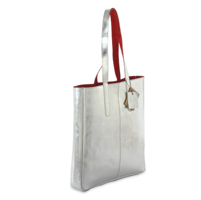 metallic reversible leather tote bag - Silver