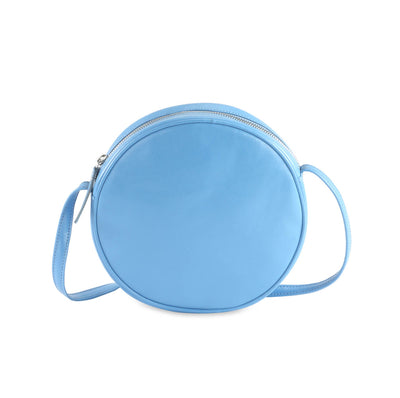 Leather Round Circle Shoulder Bag, Pink | Teal | Sky Blue | Orange | Apple Green