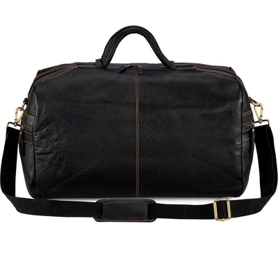 Pratico Grained Leather Travel Bag With Pin Stitch Detail #TT02