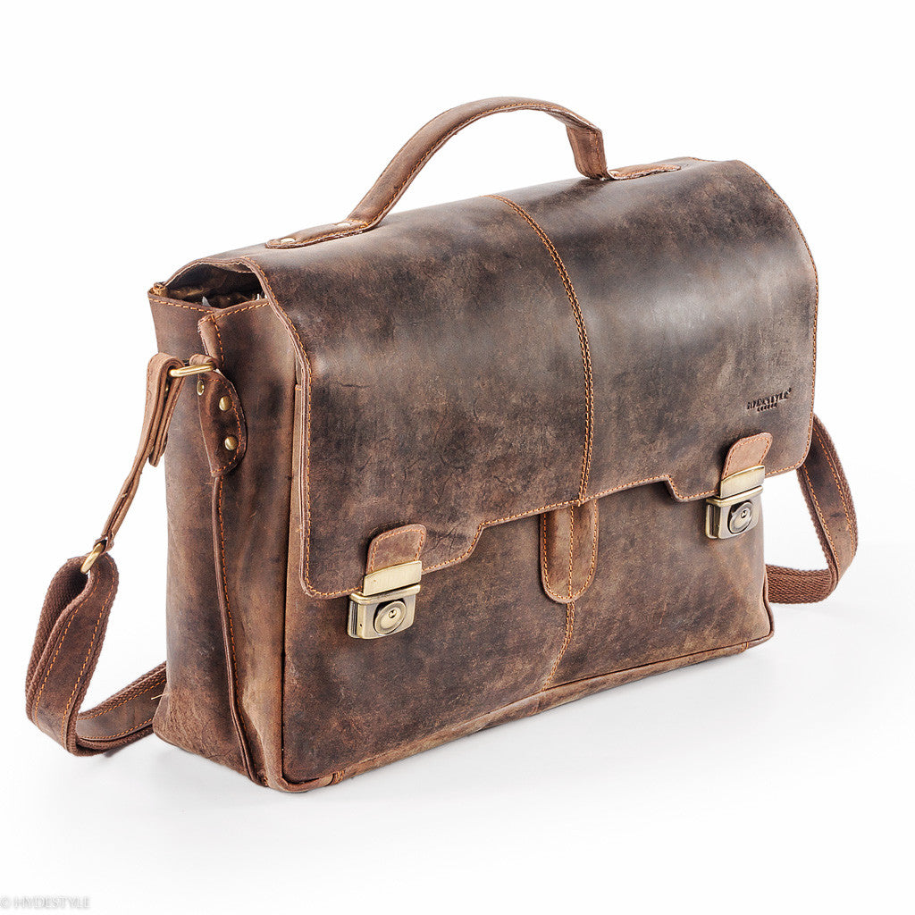 f31d29720081 Venator distressed leather laptop briefcase Bag  UM19 Brown