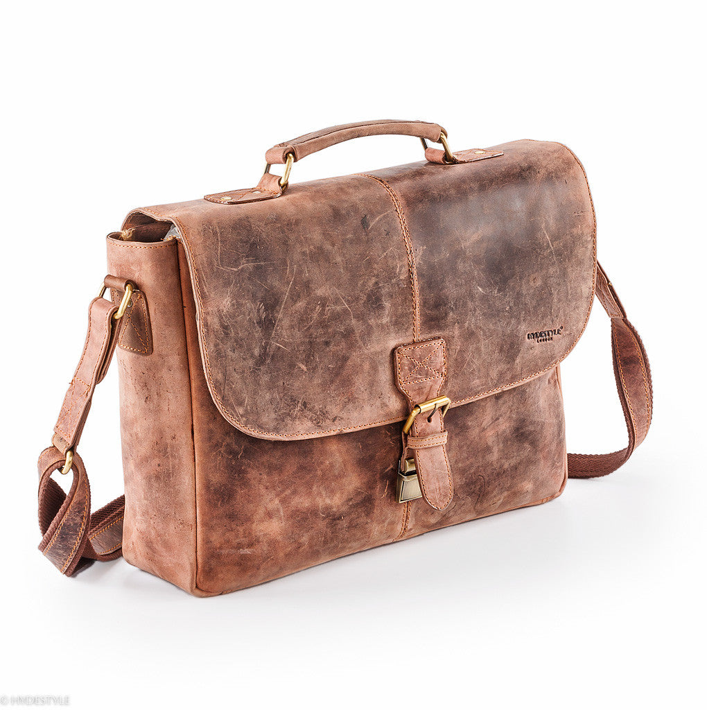 Venator distressed leather vintage satchel  #UM40 Brown