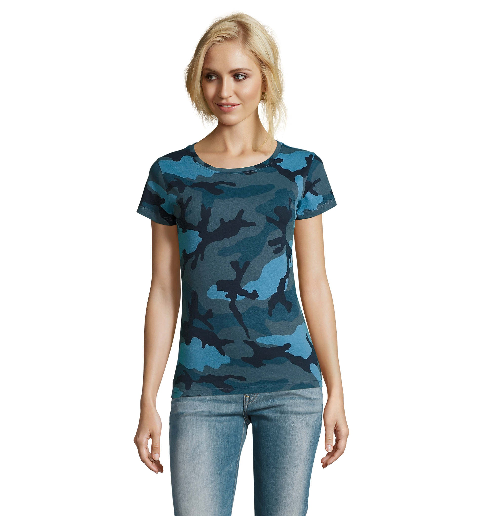 Blue Camo Printed Ladies T-Shirt LTS-1187