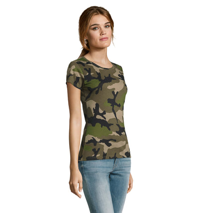 Green Camo Printed Ladies T-Shirt LTS-1187
