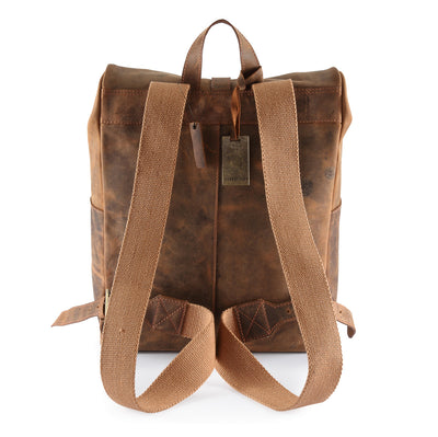 Hydestyle venator Roll Top Distressed Leather Backpack #UM04