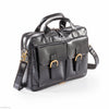 Trenz Leather Twin Pocket Business Bag #UM36 Black