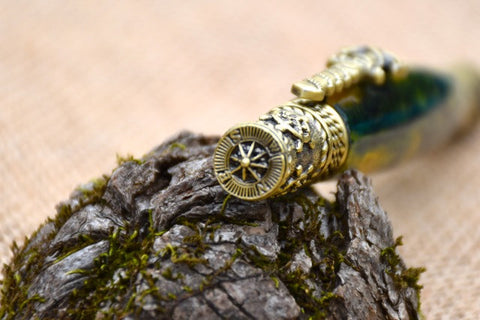 Nautical Pen in Gold and Green Acrylic