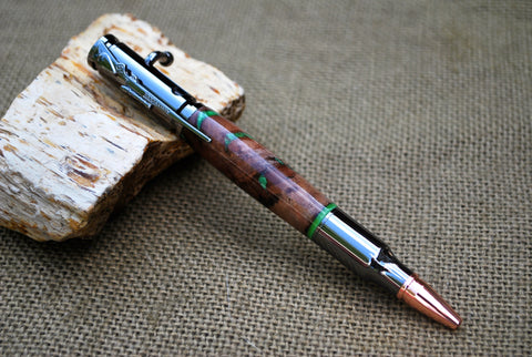 Bolt Action In Maple Burl With Green Inlays