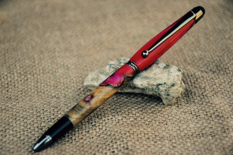 Touch Stylus Pen in Hybrid Pink Acrylic and Wood