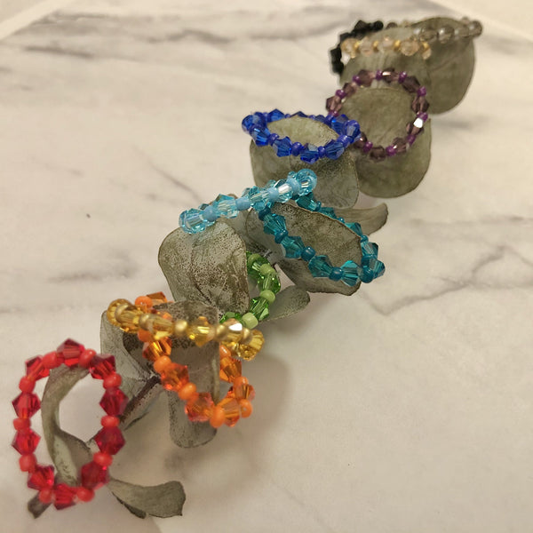 Bicone Crystal Rings