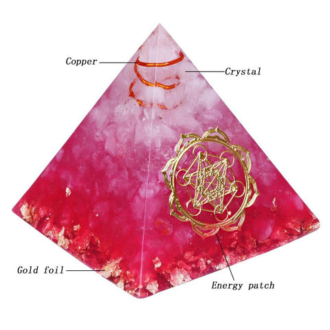 Pink Orion pyramid handcrafted with white crystals, copper, metals, and resin.