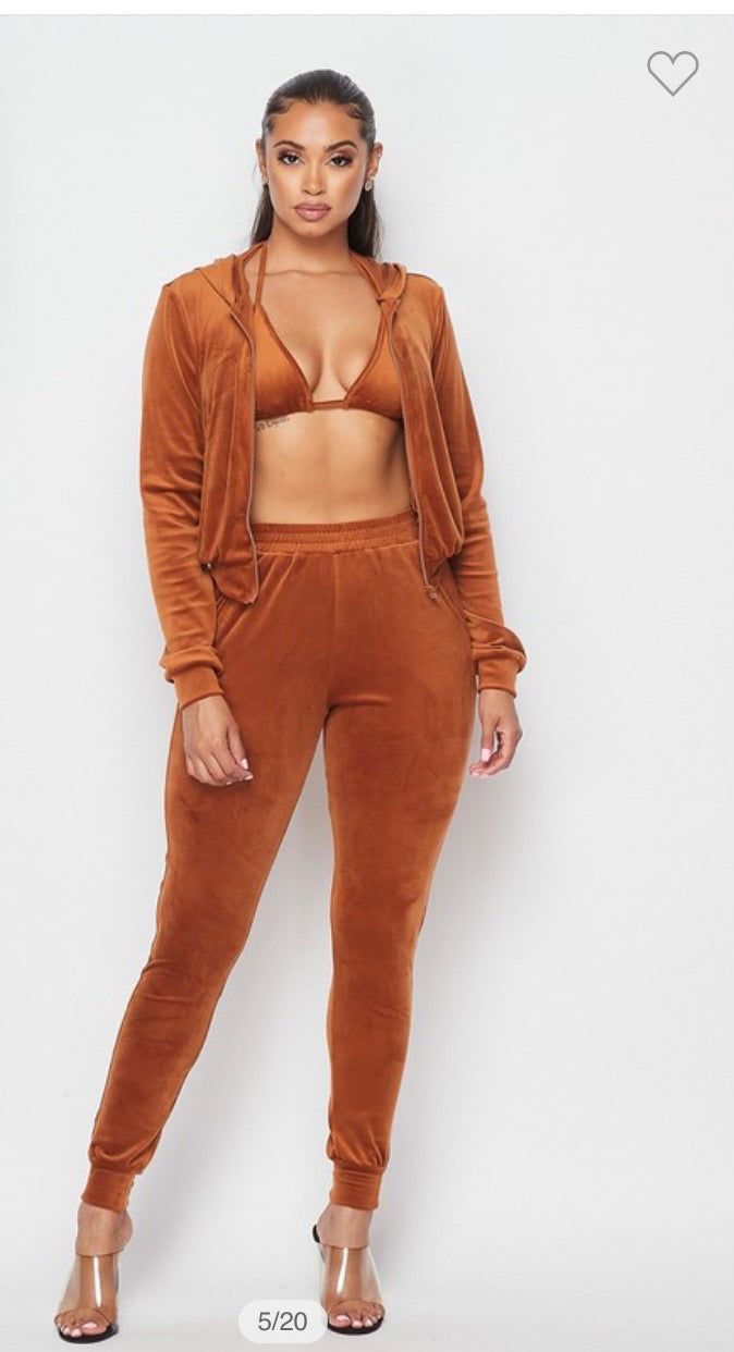 3 piece velour set
