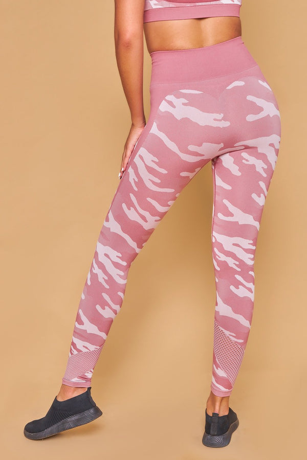 Military Inspired Printed Seamless Leggings Rosa