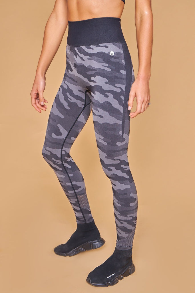 Military Inspired Printed Seamless Leggings Negro