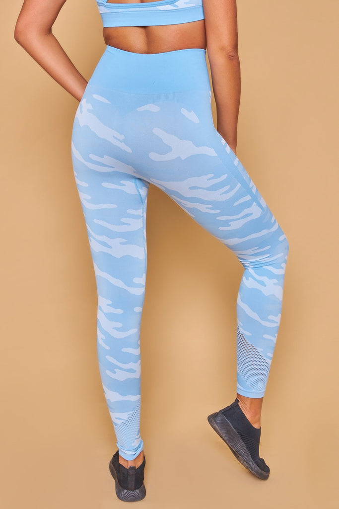 Military Inspired Printed Seamless Leggings Azul