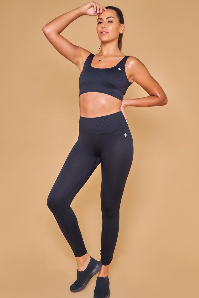 Ahan Seamless Bra & Leggings Negro