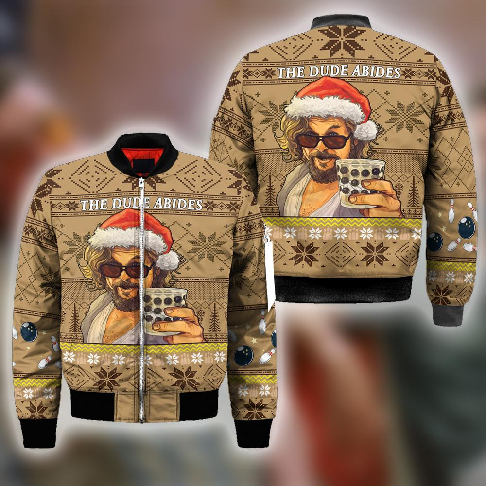 The Big Lebowski THE DUDE ABIDES Ugly Christmas Sweatshirt Hoodie All Over Printed DICT272