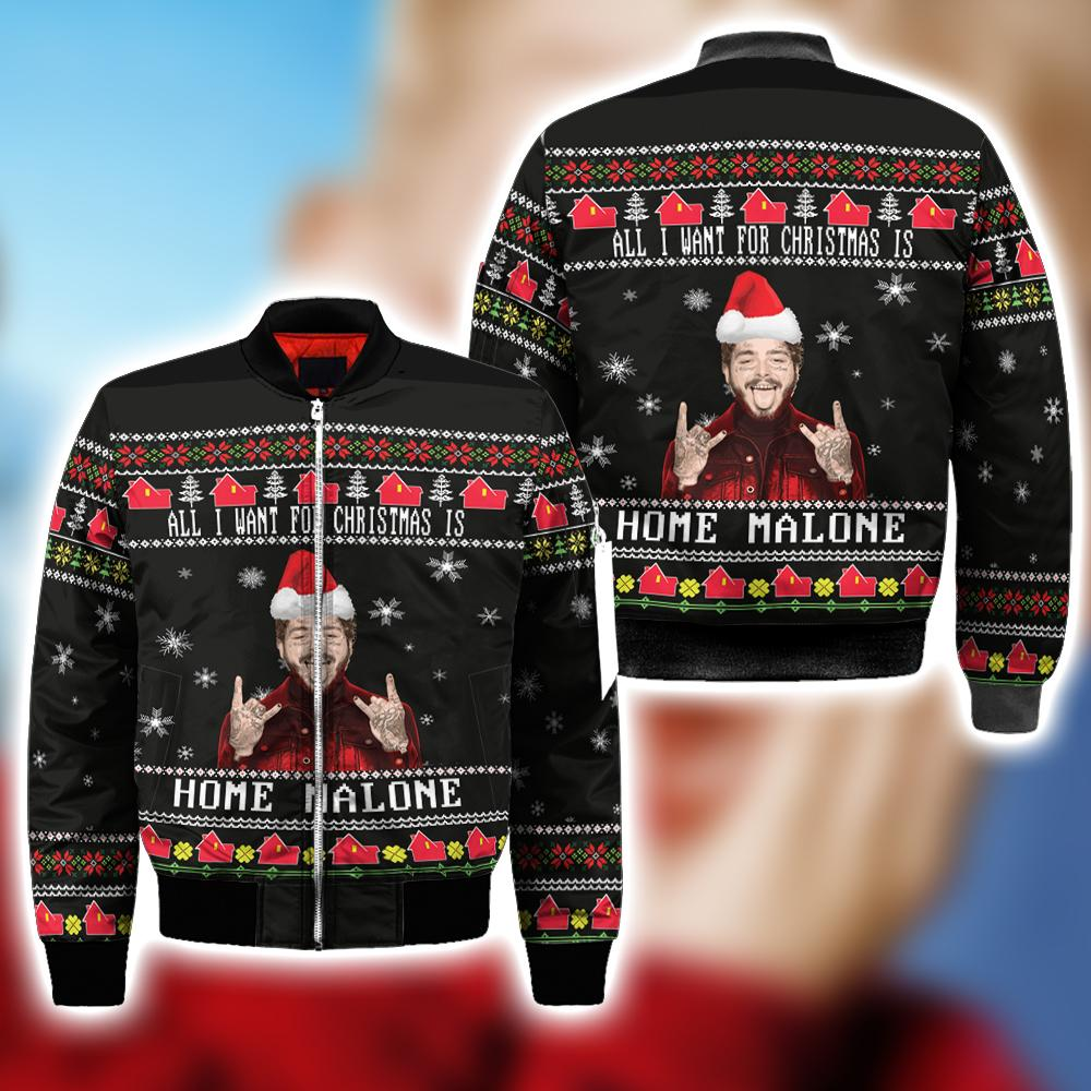 Home Malone Ugly Christmas Sweatshirt Hoodie All Over Printed DICT265