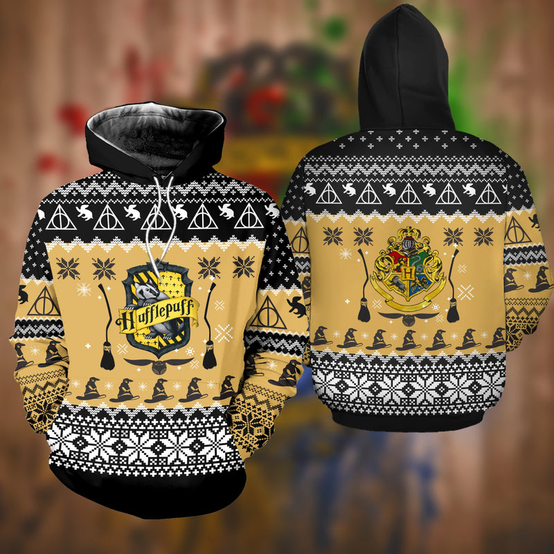 Harry Potter Hufflepuff Christmas Sweatshirt Hoodie All Over Printed DICT264