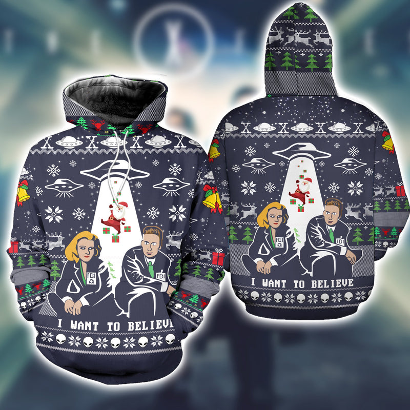 I Want to Believe Ugly Christmas Sweatshirt Hoodie All Over Printed DICT271