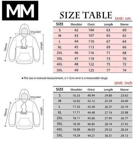 Black Clover Hoodie Size Chart