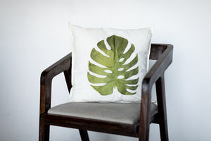 Embroidered Leaf Throw Pillow