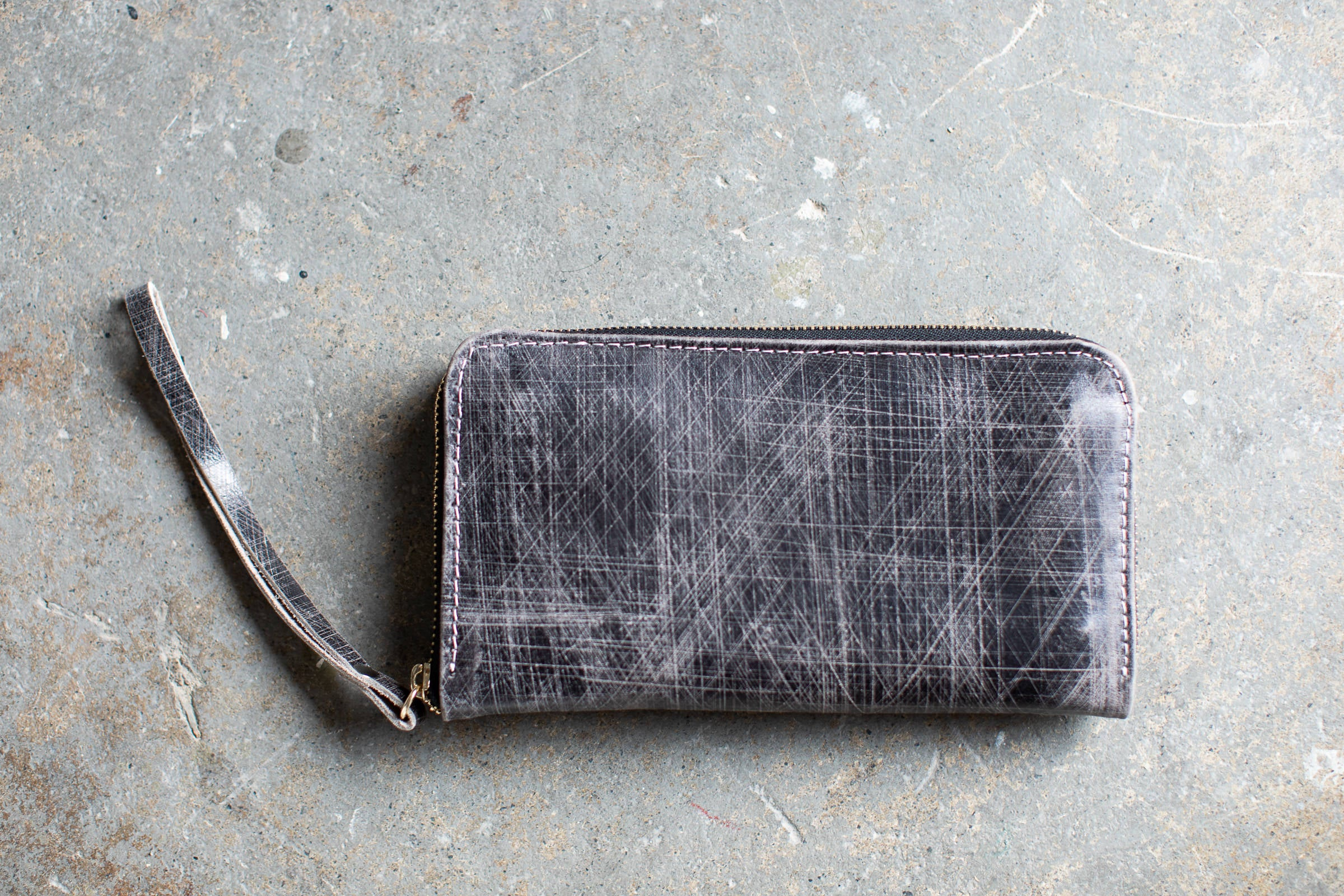 Grey Leather Clutch Wallet