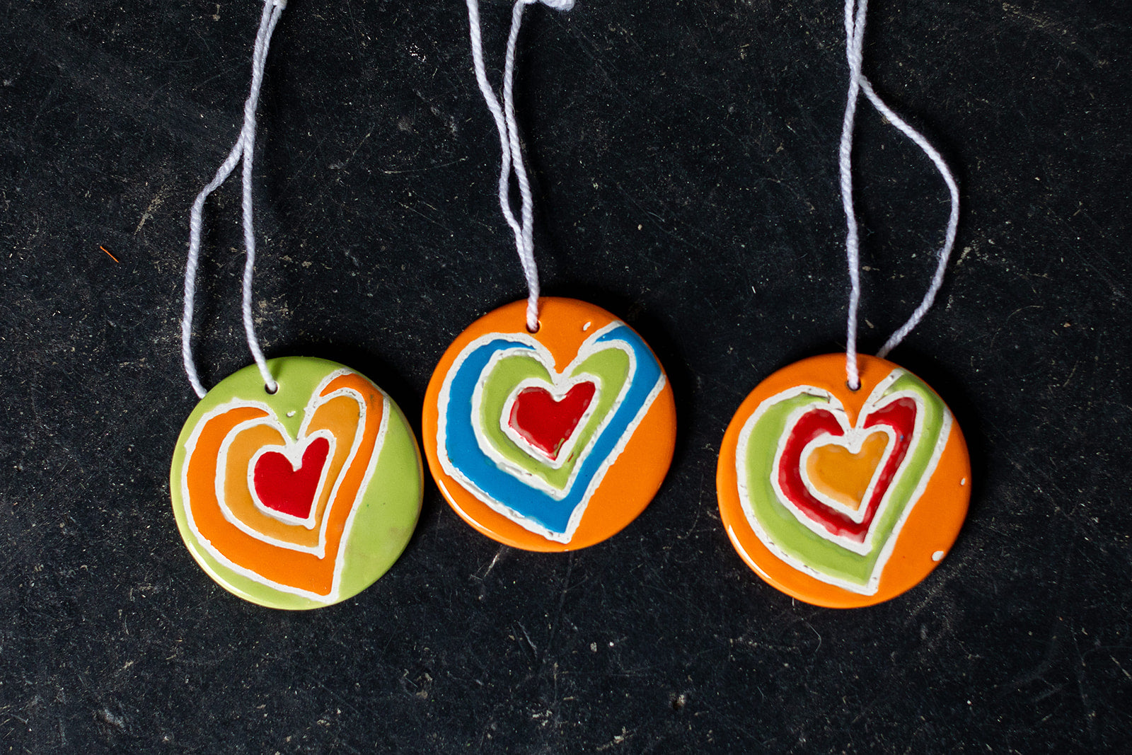 Painted Heart Clay Ornaments