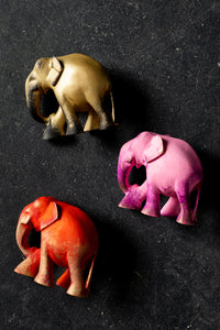 Small Wooden Coloured Elephants