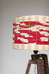 Wooden Lamp with Woven Sari Shade
