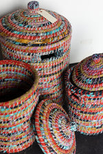 Load image into Gallery viewer, Recycled Sari Nesting Baskets - B12