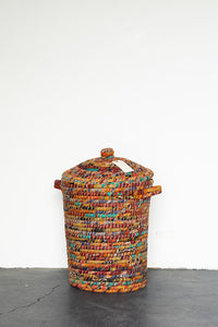 Recycled Sari Basket with Lid - B18
