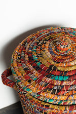 Load image into Gallery viewer, Recycled Sari Basket with Lid - B18