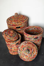 Load image into Gallery viewer, Recycled Sari Nesting Baskets - B19